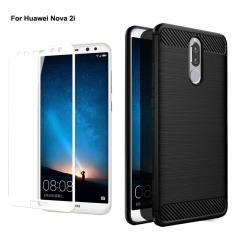 For Hua Wei Nova 2I Carbon Fiber Shockproof Anti Fingerprint Phone Protective Case Cover With 2 5D Full Coverage Anti Scratch Tempered Galss Screen Protector Film Intl Free Shipping