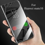 Latest For Huawei Mate 10 Luxury Plating Transparent View Mirror Flip Case Clear Cover Phone Casing For Huawei Mate10 Leather Full Protection Housing With Kickstand Intl
