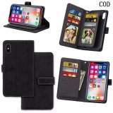 Discounted For Iphone X Wallet Case Retro Magnetic 9 Card Slots Flip Stand Leather Wallet Case Matte Design With Wrist Strap For Apple Iphone X Cod Intl