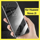 Retail Price For Nova 2I Luxury Plating Clear View Mirror Transparent Flip Cover Phone Case Full Cover Kickstand Pu Leather Phone Hosuing For Huawei Nova 2I Handphone Casing Intl