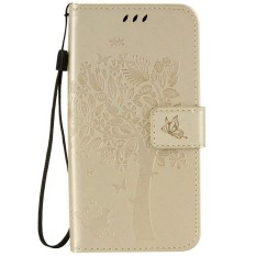 For Samsung Galaxy J3 Pro J3110 Brown Emboss Flower Leather Wallet Card Slot Flip Stand Case