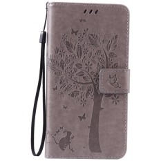 For Samsung Galaxy Note 5 Gray Emboss Flower Leather Wallet Card Slot Flip Stand Case Cover