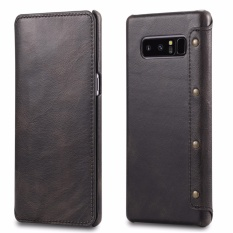 Best Reviews Of For Samsung Galaxy Note 8 Leather Case Simple Luxury 100 Genuine Top Cow Oil Wax Leather Cell Phone Wallet Case Vintage Designer Folio Flip Cover With Card Slot Intl