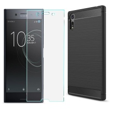 For Sony Xperia Xz Shockproof Carbon Fiber Cover Case With Hd Tempered Glass Sweatproof Anti Scratch Fingerprint Proof Phone Protective Shell For Sony Xperia Xz Intl Coupon Code