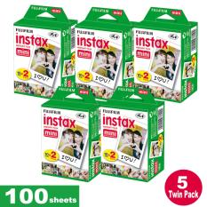 Fujifilm Instax Mini Plain Film 100 Sheets - 5 Twin Pack By Icm Photography.