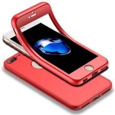 Lowest Price Full Body Case For Iphone 7 Plus 5 5 Soft Tpu Matte Finish Slim Cover 2 In 1 Full Coverage Protection With Tempered Glass Screen Protector Red Intl