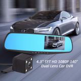 Sale Full Hd 1080P Dash Cam Auto 4 3 Inch Rearview Mirror Digital Video Recorder Dual Lens Car Dvr Camera Singapore