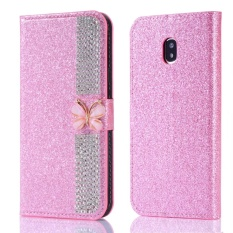 Cheaper Galaxy J7 2017 Case Galaxy J7 Pro Case Butterfly With Diamond High Quality Glittering Pu Leather Case Card Slot Bracket Design Phone Case Cover For Samsung Galaxy J7 2017 J7 Pro J730 Case Intl