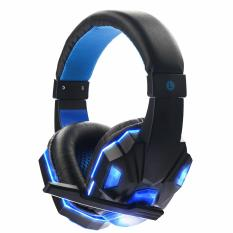 Gaming Headset Surround 3.5mm Stereo Headband Headphone USB LED with Mic for PC Laptop(Blue)
