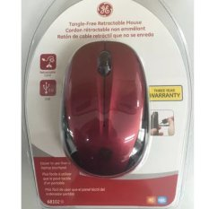 GE 68102 Tangle-Free Wired Retractable Mouse (Red)