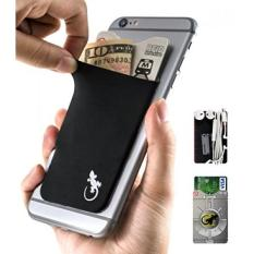 Gecko Adhesive Phone Wallet Rfid Blocking Sleeve A Stick On Stretchy Lycra Card Holder Universally Fits Most Cell Phones Cases Xtra Tall Pocket Totally Covers Credit Cards Cash Black Free Shipping