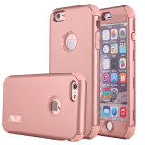 Great Deal Hard Plastic Soft Silicon Rubber Armor Defender Case Cover For Apple Iphone 6S Iphone 6 4 7 Inch Rose Gold
