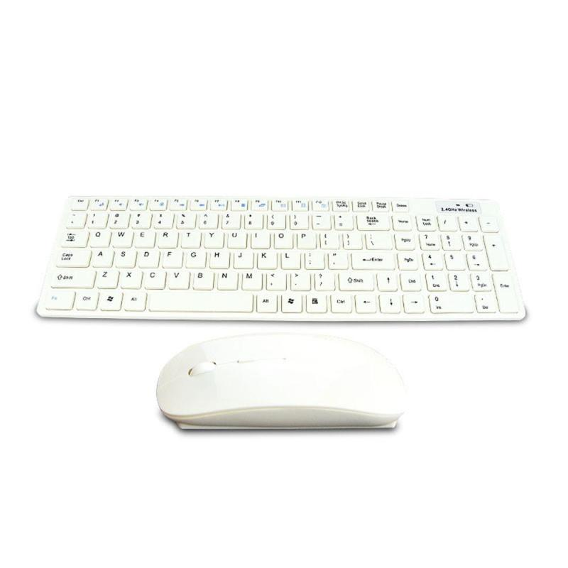 High Quality Ultra thin White 2.4G Cordless Wireless Keyboard and Optical Mouse Singapore