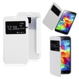 Cheap Hks Window View Flip Leather Skin Hard Clear Back Case Cover For Samsung Galaxy S5 Sv White Intl
