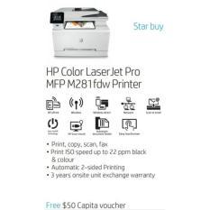 Discount Hp Color Laserjet Pro Mfp M281Fdw T6B82A Free 50 Capita Voucher Till 31 July 2018 Hp Printer Singapore