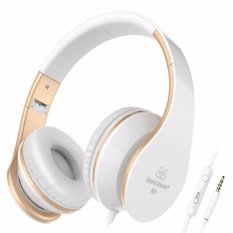 Retail I65 Wired Headphones With Microphone And Volume Control For Travel Work Sport Foldable Headset For Iphone And Android Devices White Gold