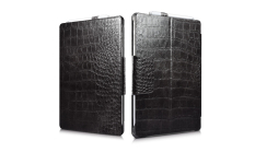 Sale Icarer Embossed Crocodile Genuine Leather Folio Cover With Pencil Holder And Stand Function Case For Microsoft Surface Pro 4 Black Icarer Online