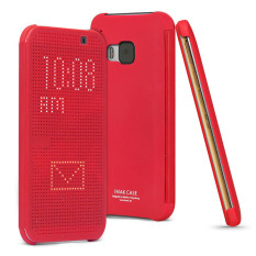 Htc One M9 - *buy 1 Get 1 Crystal Clear Case For Free* Imak Smart Dot Matrix Flip Case Full Coverage Casing Cover Blue Red.