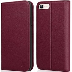 How To Get Iphone 8 Case Iphone 7 Case Zover Genuine Leather Case Flip Folio Book Case Wallet Cover With Kickstand Feature Card Slots Id Holder And Magnetic Closure For Iphone 7 And Iphone 8 Wine Red Intl