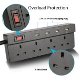 Retail Jabriel Lightning Protection Function Power Strip 4 Way Outlet 4 Usb Ports Extension Lead Power Strip Surge Protector Usb Charger Power Socket With 5 9Ft Power Cord Usb Charging Port Support Ipad Ipod Smart Phones Intl