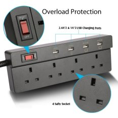 Compare Jabriel Lightning Protection Function Power Strip 4 Way Outlet 4 Usb Ports Extension Lead Power Strip Surge Protector Usb Charger Power Socket With 5 9Ft Power Cord Usb Charging Port Support Ipad Ipod Smart Phones Intl