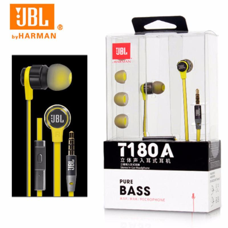 JBL PUREBASS T180A Stereo In-Ear Headphones (Yellow) Singapore