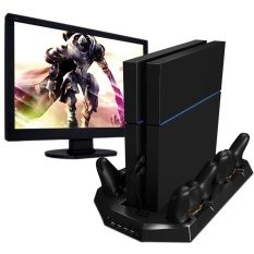 jingot PS4 Vertical Stand With Cooling Fan Charger PlayStation 4 Console Cooler Dualshock 4 Controllers Charging Station With 4 Charger Ports USB HUB - intl