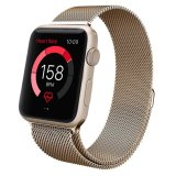 Best Reviews Of Jts Milanese Stainless Steel Fully Magnetic Closure Clasp Bracelet Mesh Metal Loop Band Strap For Apple Watch 38Mm Gold