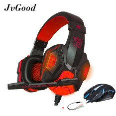 Sale Jvgood Game Headset Wired Gaming Workout Headphone Sport Earphones And Usb Gaming Mouse Optical Wired Game Mice With Splitter Cable