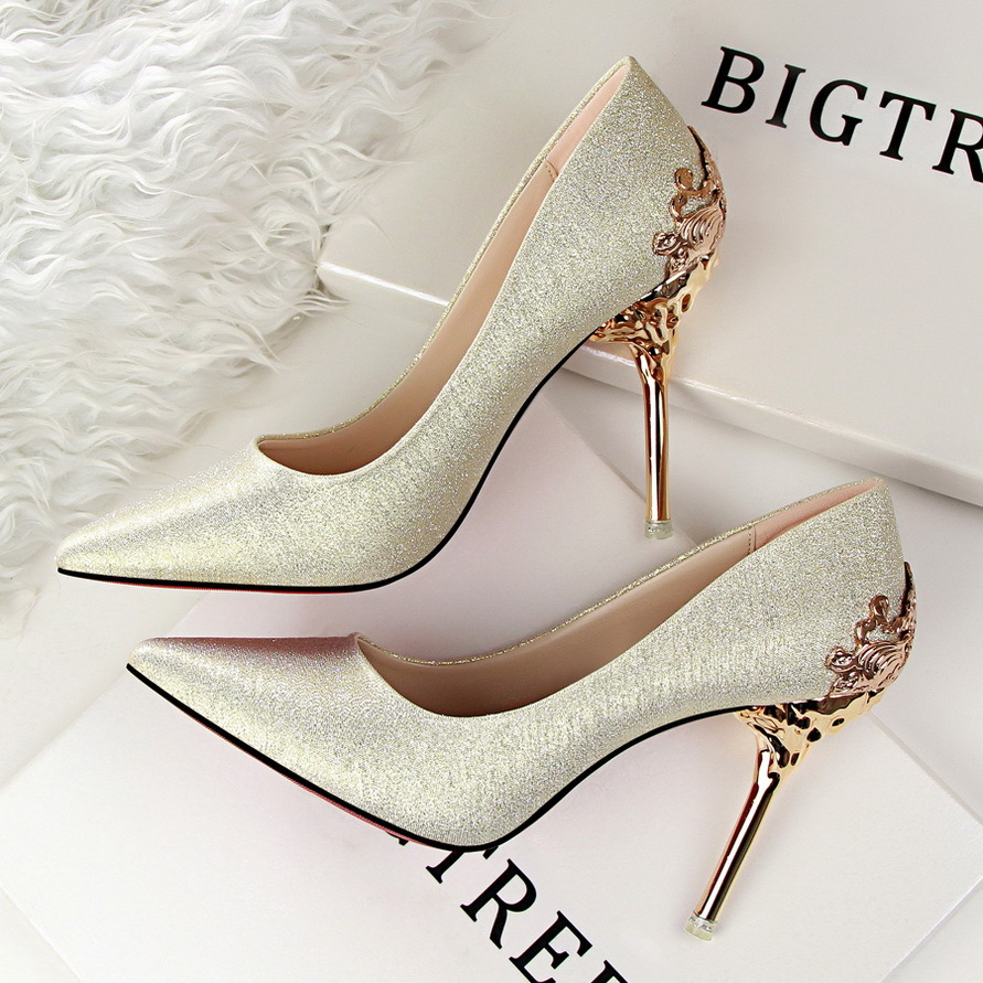 Price Fashion High Heeled Shoes Woman Pumps Thin Heels High Heels Suede Pointed Toe Women Shoes Closed Toe Ladies Wedding Shoes Gold Oem Original