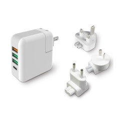 Sale Kp 4U Qc 3 Quick Charger 3 Usb Ports Type C Port Wall Charger Ac Travel Adapter For New Mackbook Tablets Etc Intl Oem