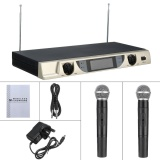 Lcd Dual Channel Uhf Wireless Hand Held 2 Handheld Microphone Mic System Kit Uk Plug Intl Lower Price