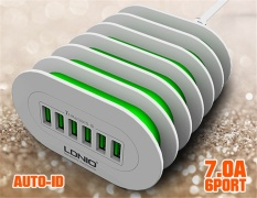 Price Ldnio A6702 6 Usb Multi Ports Charging Station Smart Adaptive 7A Desktop Eu Us Uk Au Plug 6Usb Ports Fast Charger For Iphone 7 6 5 Ipad For Samsung Phone Tablets Intl Ldnio China