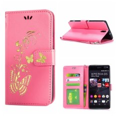 Leather Case For Sony Xperia C5 Bronzing Butterfly Flip Wallet Stand Cover with Photo Frame Pink