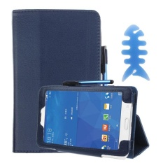 Leather Case Stand Cover For Galaxy Tab 3 7Inch SM-T110 Blue - intl