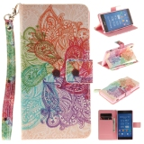 Price Leather Flip Stand Wallet Case Card Slots Cover For Sony Xperia Z3 Colorful Flowers On China