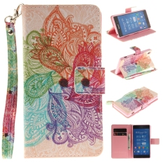 Review Leather Flip Stand Wallet Case Card Slots Cover For Sony Xperia Z3 Colorful Flowers On China