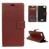 Buying Leather Litchi Grain Standing Flip Cover Case For Wiko Fever 4G Brown Intl