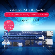 Recent (Led Version)Q Shop Pci E Pci Express Riser Card 1X To 16X Extension Usb 3 Cable 15Pin Sata To 6Pin Power Cord For Btc Miner Cable Length 60Cm Intl