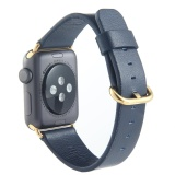 Latest Leegoal Band Leather Stainless Steel Buckle Straps Replacement Watchbands For Apple Watch Series 2 Series 1 42Mm Dark Blue Stainless Steel Buckle Intl