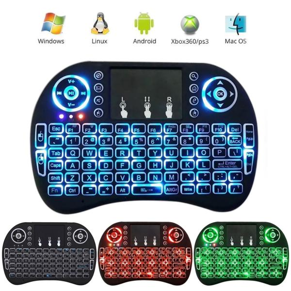 leegoal Rii I8 Mini 2.4Ghz Wire-less Touchpad Keyboard With Mouse For Pc, Pad, Xbox 360, Ps3,  Android Tv Box, Htpc, Iptv (Black)