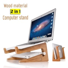 leegoal Wood Material Laptop Computer Notebook Stand Storage Rack Screen Height Bracket - intl