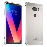 Top 10 Lg V30 Case Mooncase Luxury Metal Bumper Brushed Hard Plastic Back Cover 2 In 1 Cover Ultra Thin Frame As Shown Intl