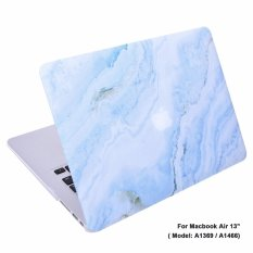 Lightning Power-Rubberized Plastic Hard Shell Cover Case for MacBook (Macbook Air 13 (A1369 / A1466), White Blue Marble Pattern) - intl