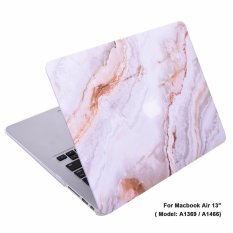 Lightning Power-Rubberized Plastic Hard Shell Cover Case for MacBook (Macbook Air 13 (A1369 / A1466), White Orange Marble Pattern) - intl