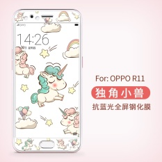 Great Deal Lovely 3D Painting Front Full Case Cover Color Tempered Glass Case For Screen Protector Film Anti Blue Light For Oppo R11