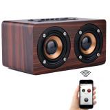 Compare Price Loveu Mini Wooden Hifi Bluetooth Speaker 10W Dual Loudspeakers Surround Portable Speaker Red Wine Intl On China