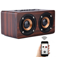 Cheapest Loveu Mini Wooden Hifi Bluetooth Speaker 10W Dual Loudspeakers Surround Portable Speaker Red Wine Intl Online