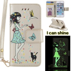 Luminous Shine G*rl Pu Leather Wallet Flip Magnetic Case For Apple Iphone 5S Se Cover Funds Phone Bags Gold Intl Free Shipping