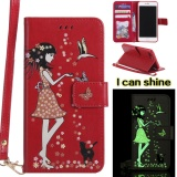 Sale Luminous Shine G*Rl Pu Leather Wallet Flip Magnetic Case For Apple Iphone 7 Plus Cover Funds Phone Bags Red Intl